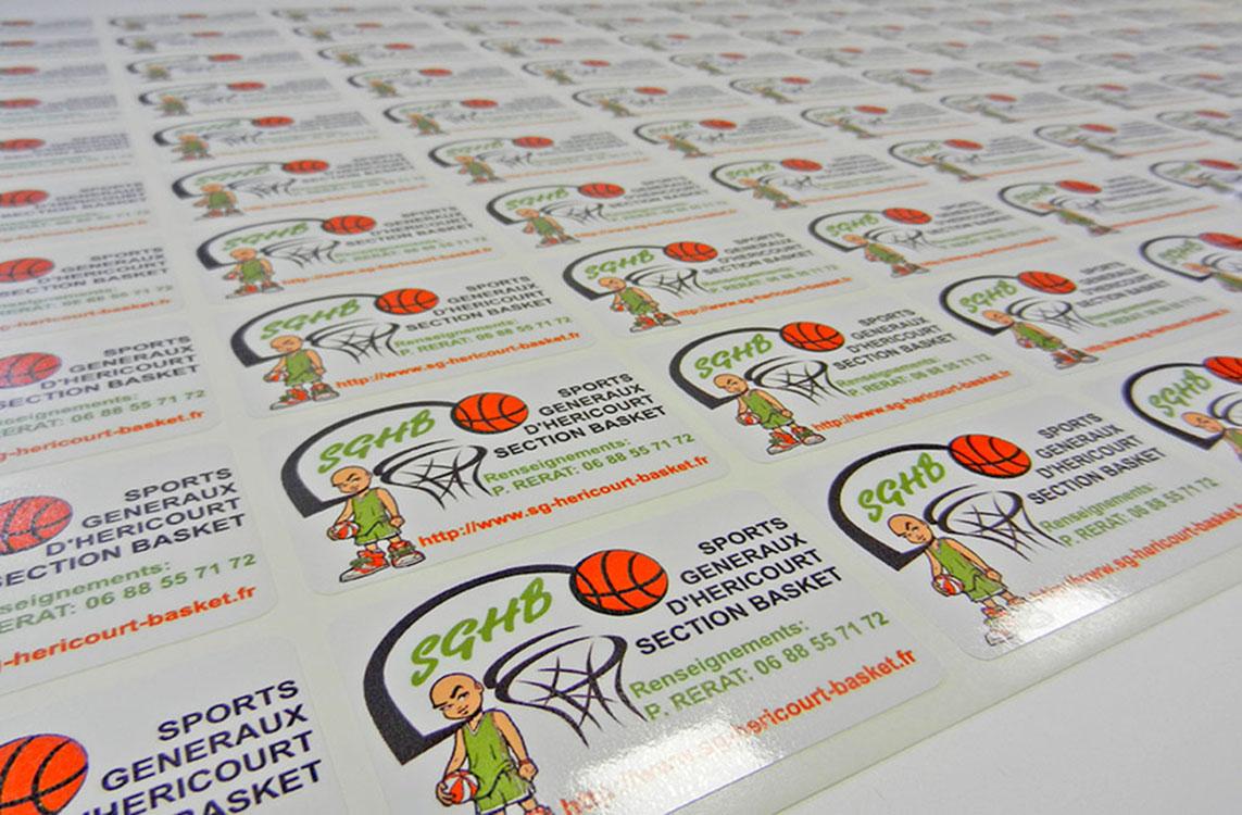 Planches de stickers avec coins arrondis, impression numérique quadri