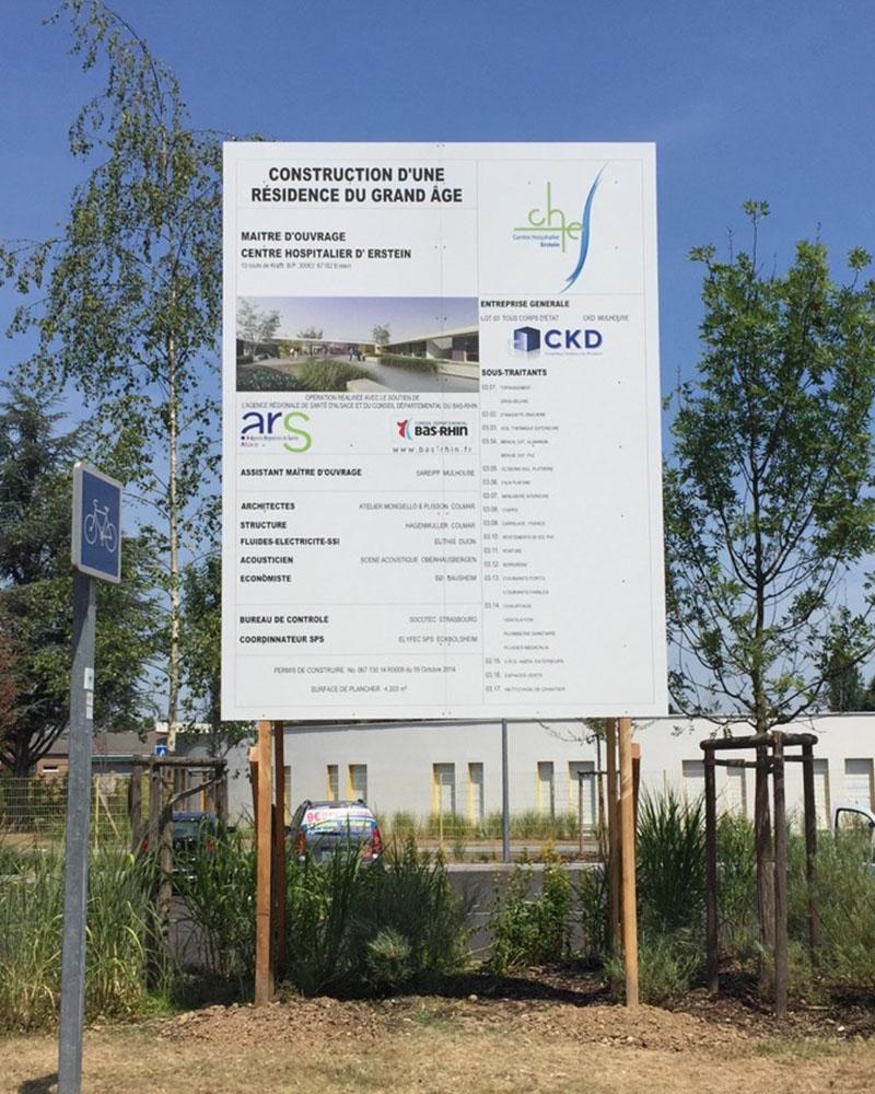 PANNEAU DE CHANTIER  12 M 2 / DIBOND /STRUCTURE BOIS/ SCELLEMENT